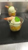 Cocktail de crevettes , salade d'argumes au crabe , sorbet citron vert-min